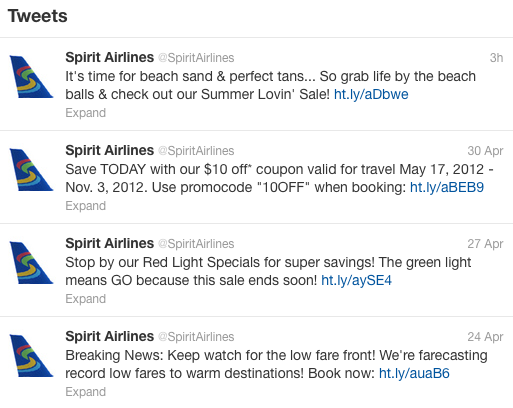 @SpiritAirlines tweets