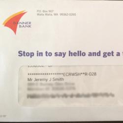 Banner Bank Junk Mail